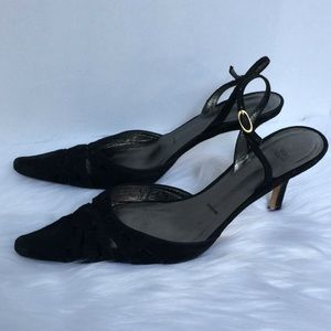 Vera Wang Pointed heels sling back suede leather